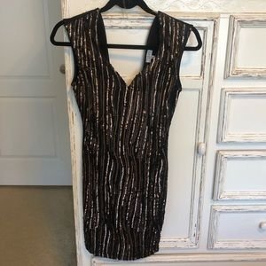 Tobi Black and Gold Sequin Dress NWT